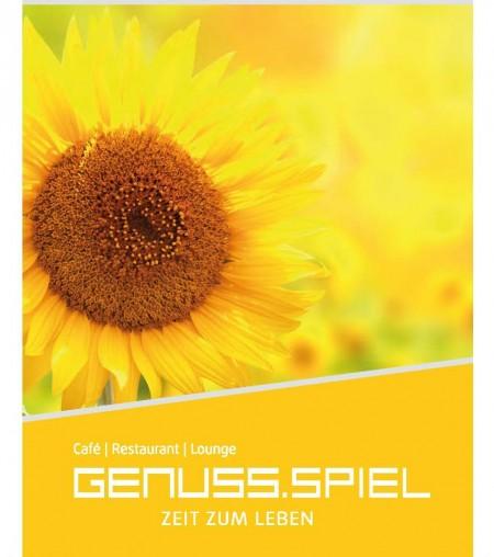 Speisekarte Titelseite; große Sonnenblume